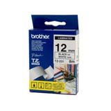 Brother TZe-231 / 12mm Black Text On White Laminated Labelling Tape - 8 Metres
